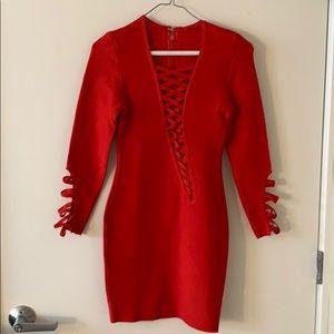Red bandage lace up mini dress